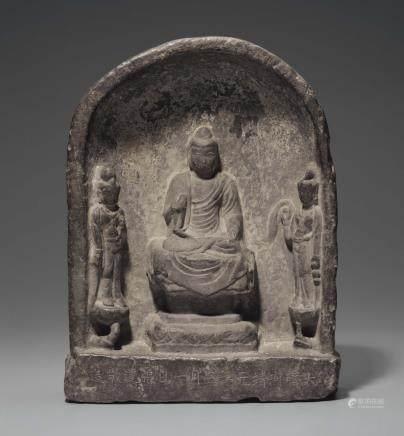 A GREY LIMESTONE BUDDHIST STELE