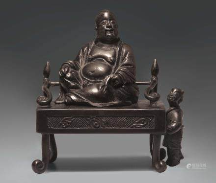 AN UNUSUAL SMALL BRONZE CENSER WITH A SEATED FIGURE OF BUDAI