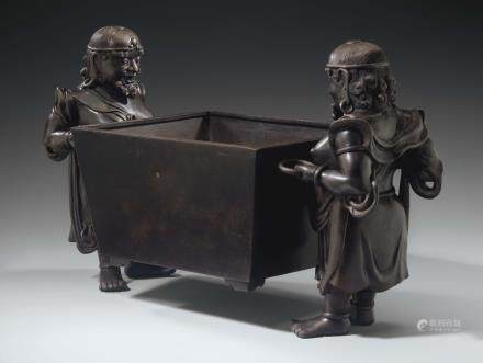 AN UNUSUAL LARGE BRONZE CENSER