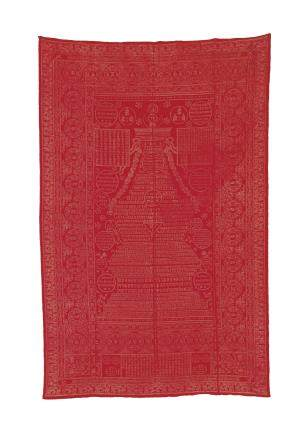 A RED-GROUND SILK BROCADE COVERING