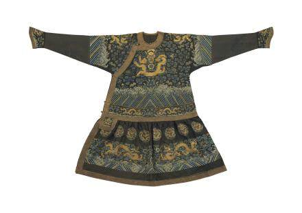A VERY RARE MIDNIGHT-BLUE GAUZE FORMAL COURT ROBE, CHAOFU