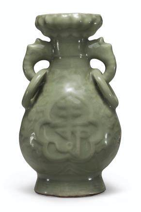 A LONGQUAN CELADON RING-HANDLED VASE