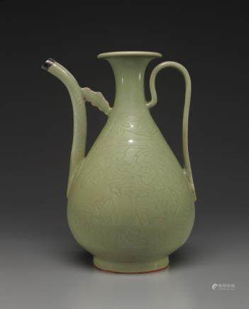 A CARVED LONGQUAN CELADON EWER