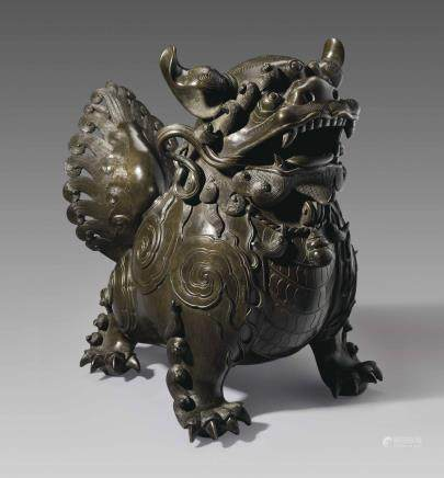 A LARGE BRONZE 'BUDDHIST LION' CENSER AND COVER