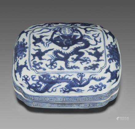 A BLUE AND WHITE CUSHION-FORM BOX AND COVER