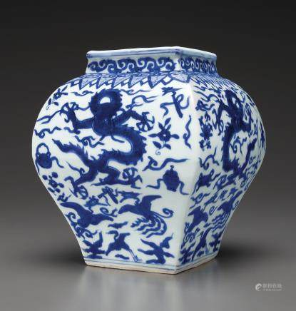 A RARE BLUE AND WHITE FACETED 'DRAGON' JAR