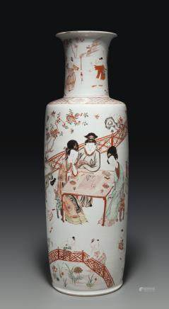 A LARGE FAMILLE VERTE, IRON-RED AND GILT-DECORATED ROULEAU VASE