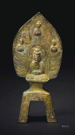 A RARE DATED GILT-BRONZE VOTIVE FIGURE OF SHAKYAMUNI BUDDHA