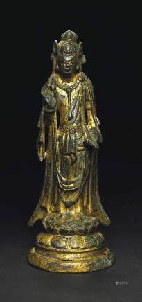 A GILT-BRONZE STANDING FIGURE OF A BODHISATTVA