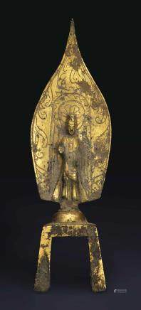 A RARE DATED GILT-BRONZE VOTIVE FIGURE OF A BODHISATTVA