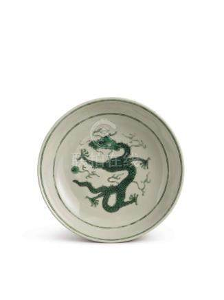 A GREEN AND BLACK-ENAMELED 'DRAGON' DISH DAOGUANG SEAL MARK AND PERIOD