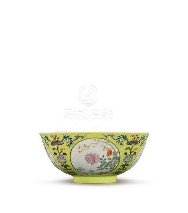 A YELLOW-GROUND FAMILLEROSE 'MEDALLION' BOWL DAOGUANG SEAL MARK AND PERIOD