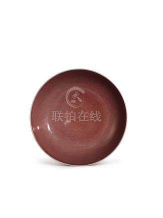 A COPPER-RED DISH QIANLONG SEAL MARK AND PERIOD