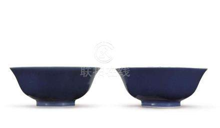 A PAIR OF BLUE-GLAZED BOWLS QIANLONG SEAL MARKS AND PERIOD