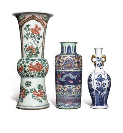 A WUCAI GU-FORM VASE AND TWO BLUE AND WHITE VASES QING DYNASTY, 17TH / 18TH CENTURY