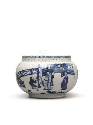 A BLUE AND WHITE JAR QING DYNASTY, 17TH CENTURY