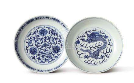 TWO BLUE AND WHITE DISHES QIANLONG SEAL MARK AND PERIOD; GUANGXU MARK AND PERIOD