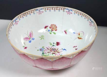 Lg 18thC Chinese Famille Rose Porcelain Lotus Bowl