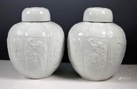Pr 19thC Chinese Blanc de Chine Baxian Ginger Jars