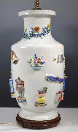 Fine Chinese 18th/19th C Applied Porcelain Vase