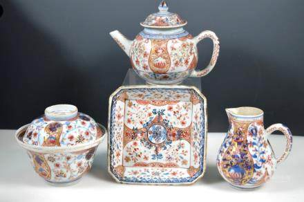 Four 17th/18th C Chinese Clobbered Porcelains