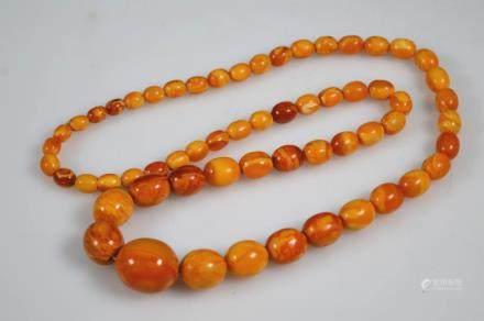 Antique Butterscotch Amber Ovoid Beads; 62G