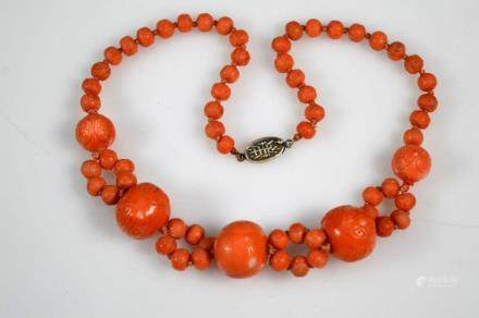 "Fine Chinese Qing Dynasty Coral ""Shou"" Beads"