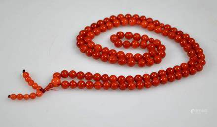 108 Coral Bead Rosary Necklace; total weight 74G