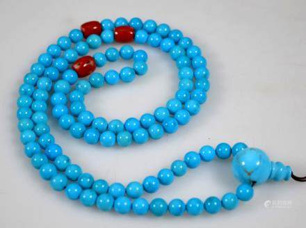 Chinese Sleeping Beauty Turquoise & Coral Beads