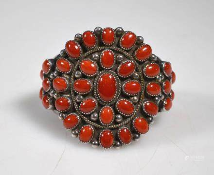 """Al Nez"" Native American Coral & Silver Bracelet"