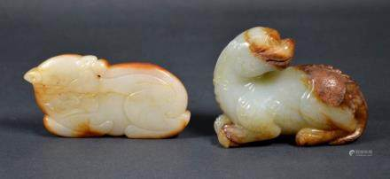 Two Antique Chinese Carved Jade Animals