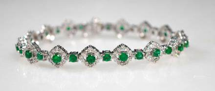 Fine Emerald & Diamond Band Bracelet in 14K Gold