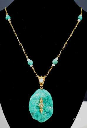 Turquoise Pebble Pendant on Yellow Gold Chain