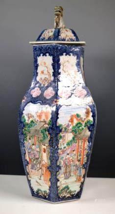 Lg Chinese 18thC Blue & Enameled Porcelain Vase
