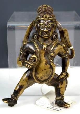 18th C Tibetan Zambala Bronze with Silver Eyes