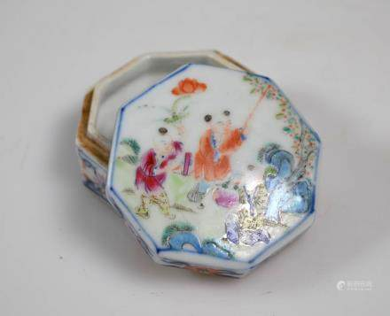 Chinese Enameled Octagonal Porcelain Box & Cover