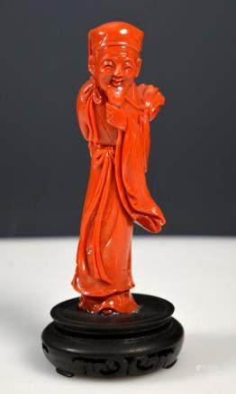 Old Chinese Carved Coral Figure; 152.5G