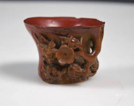 18th/19th C Chinese Carved & Lacquered Bamboo Cup