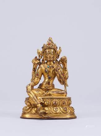 銅鎏金嵌異色寶石綠度母像