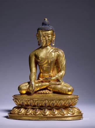 銅鎏金釋迦牟尼坐像