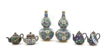 Six Cloisonné Enamel Teapots and Vases
