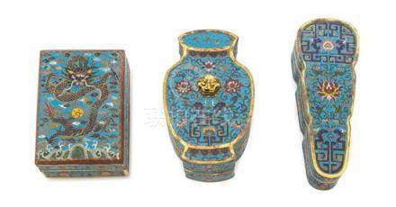 Three Cloisonné Enamel Covered Boxes