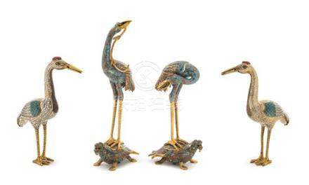 Two Pairs of Cloisonné Enamel Figures of Cranes