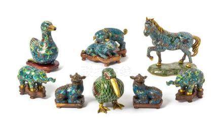 Eight Cloisonné Enamel Figures of Animals