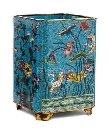 A Cloisonné Enamel Square Brush Pot