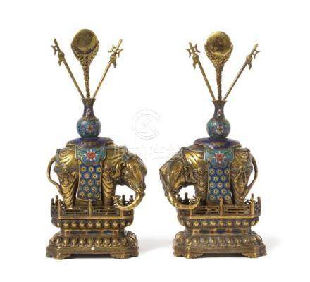 A Pair of Gilt Bronze and Cloisonné Enamel Models of Elephants
