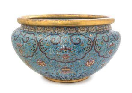 A Large Cloisonné Enamel Fish Bowl