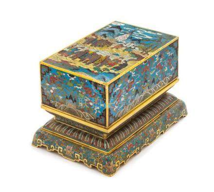 A Cloisonné Enamel Rectangular Box and Stand