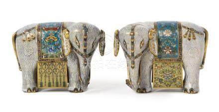 Two Cloisonné Enamel Figures of Elephants