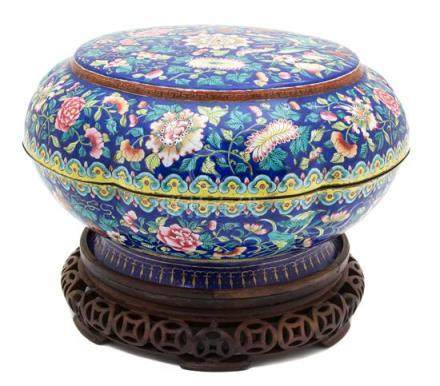 A Canton Enamel on Copper Sweetmeat Set